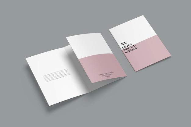 Mockup di brochure a tre ante realistico a5