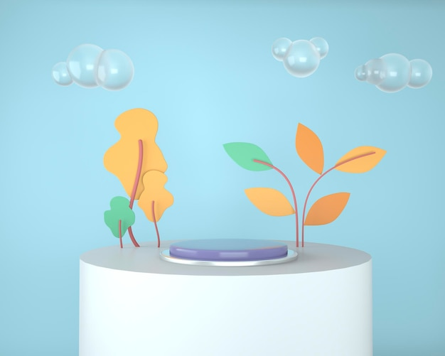 Forme geometriche astratte dell'esposizione del prodotto con rendering di concetti minimi e moderni