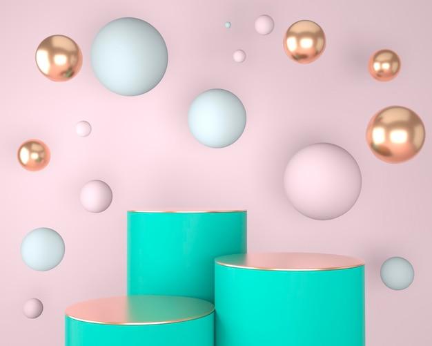 Forme geometriche astratte dell'esposizione del prodotto con concetti minimali e moderni