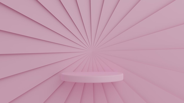 Podio di colore rosa di forma geometrica astratta su sfondo di colore rosa per il prodotto. concetto minimo. rendering 3d Psd Premium