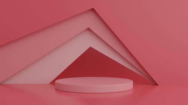 Podio di colore rosso di forma astratta della geometria nella rappresentazione 3d