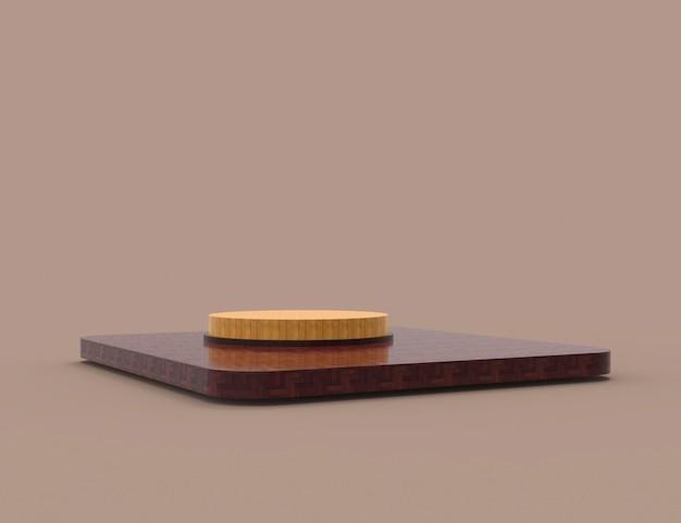 Scena minima astratta con podio in legno cilindro di forme geometriche