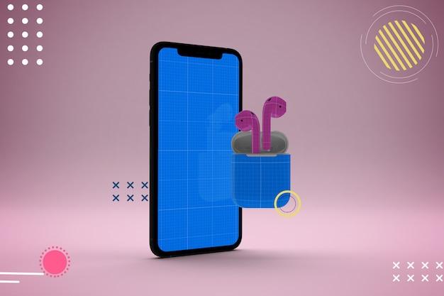 Mockup astratto per cellulari e auricolari