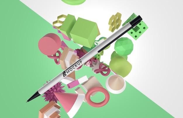 Merce mock-up astratta con penna