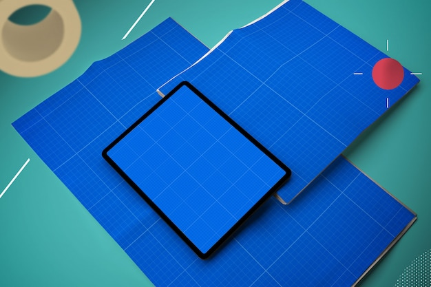 Modello astratto di giornale e tablet