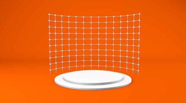Scena di sfondo arancione astratto per il rendering di visualizzazione del prodotto
