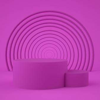 Forma geometrica astratta di colore rosa, minimalista moderno per l'esposizione o la vetrina del podio, rappresentazione 3d