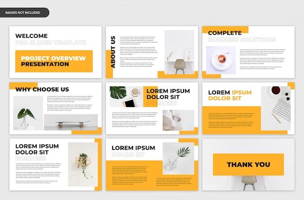 Modello astratto del cursore di presentazione aziendale di panoramica del progetto