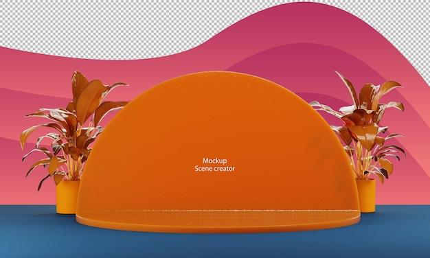 La forma astratta del cerchio della scena sta per il modello del prodotto in materiale gelatina arancione con piccola pianta with