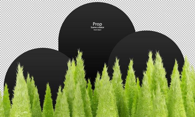 Scena astratta per la decorazione pelliccia di colore verde su pelliccia a punta su forme piramidali alte