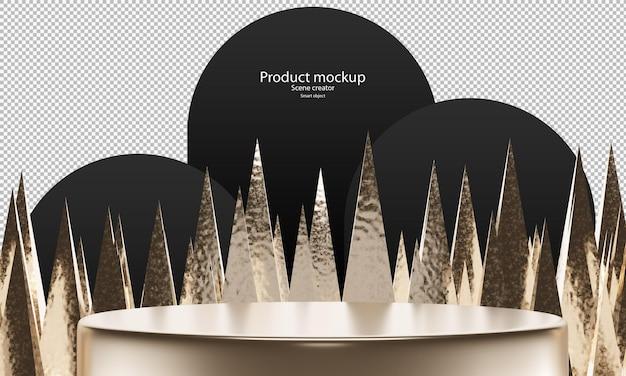 Scena astratta per prodotto mockup cerchio biondo podio per vetrina con punta in ottone sullo sfondo