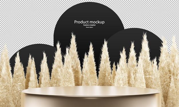 Scena astratta per podio del cerchio mockup del prodotto per vetrina con pelliccia bionda su alta piramide