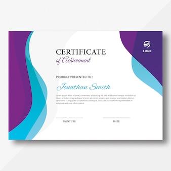 Modello di certificato di onde astratte
