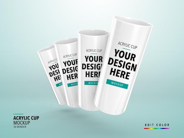 Acrilico cup mockup rendering 3d long drink realista