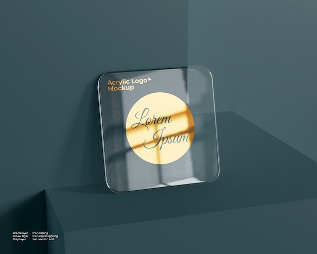 Logo quadrato in vetro acrilico mockup