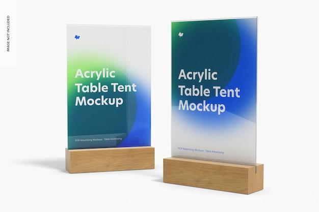 Tende da tavolo in acrilico con mockup di base in legno, prospettiva