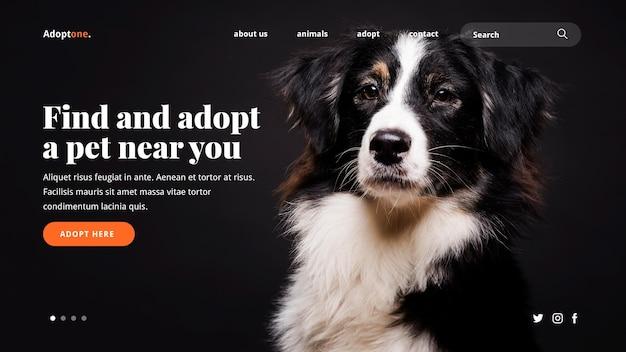 Modello di pagina di destinazione dell'adozione