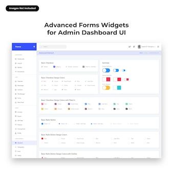 Interfaccia utente di widget modulo avanzato per admin dashboard