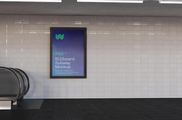 Pubblicità nella stazione della metropolitana mockup