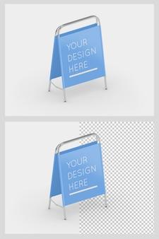 Supporto pubblicitario a con telaio in acciaio e mockup in tessuto isolato