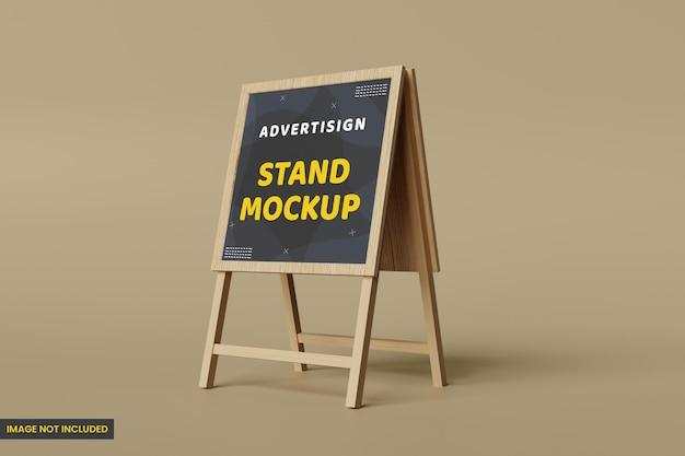 Mockup di banner pubblicitario in legno stand e mockup di visualizzazione per il branding