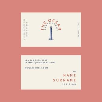 Modello di biglietto da visita estetico psd per ristorante, remixato da opere d'arte di pubblico dominio