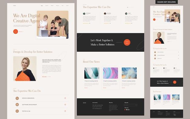 Modello di sito web per agenzia creativa estetica