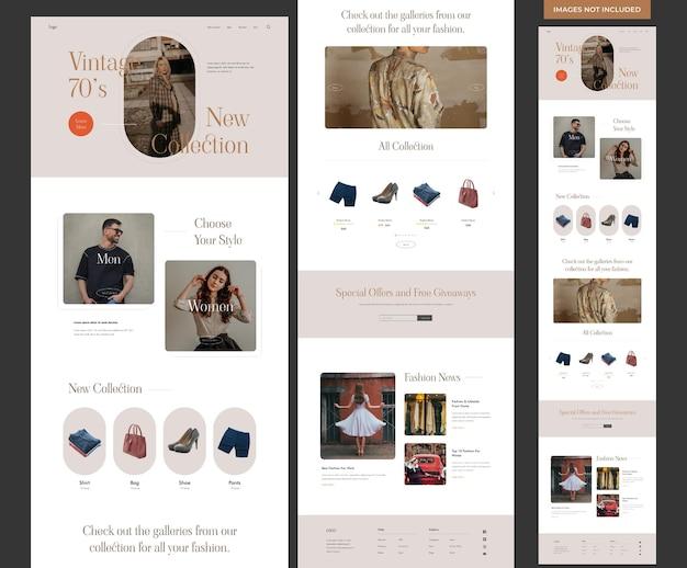 Modello di sito web di moda estetica