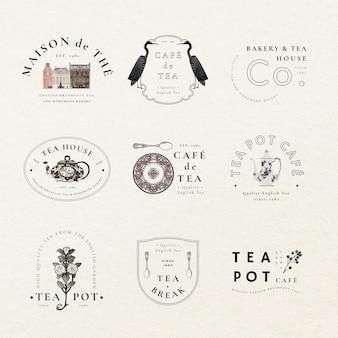 Modello di logo estetico psd per set da caffè, remixato da opere d'arte di pubblico dominio