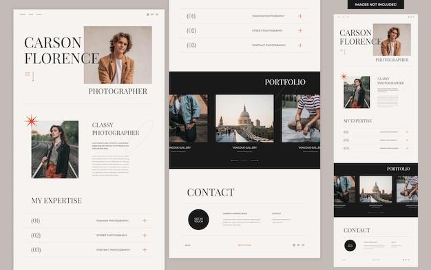 Modello di sito web per portfolio personale estetico