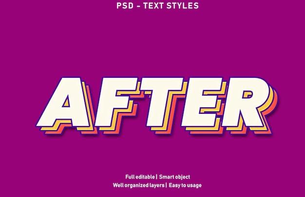 Dopo il modello di stile dell'effetto di testo