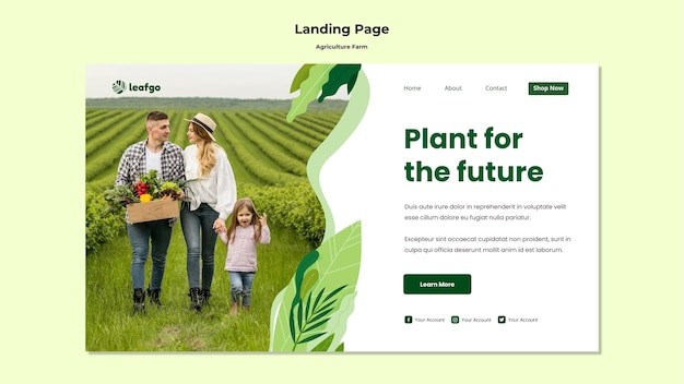 Modello della pagina di atterraggio di concetto dell'azienda agricola di agricoltura
