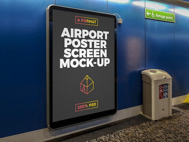 Mockup di tabellone per le affissioni dell'aeroporto