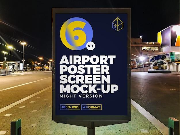 Mockup di tabellone per le affissioni di strada notturna dell'aeroporto