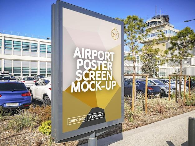 Mockup di schermo poster aeroporto