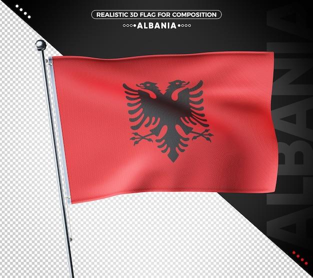 Bandiera albania 3d con texture realistica