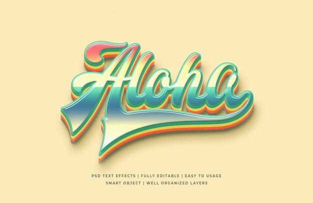Aloha effetto testo in stile 3d