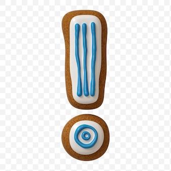 Punto esclamativo di alfabeto fatto di biscotto di pan di zenzero di colore isolato