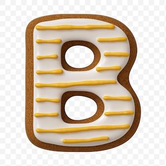 Lettera b dell'alfabeto fatta di biscotto di pan di zenzero di colore isolato