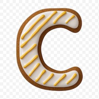 Lettera c di alfabeto fatta di biscotto di pan di zenzero di colore isolato