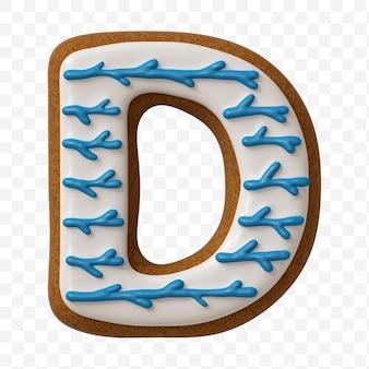 Lettera d dell'alfabeto fatta di biscotto di pan di zenzero di colore isolato