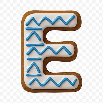 Lettera e dell'alfabeto fatta di biscotto di pan di zenzero di colore isolato