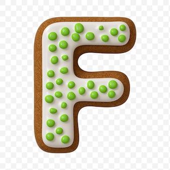 Lettera f di alfabeto fatta di biscotto di pan di zenzero di colore isolato