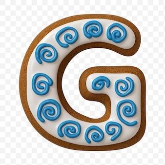 Lettera g di alfabeto fatta di biscotto di pan di zenzero di colore isolato