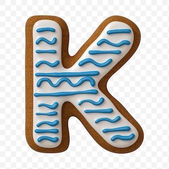 Lettera k di alfabeto fatta di biscotto di pan di zenzero di colore isolato