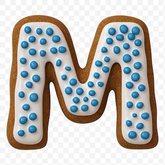 Lettera m di alfabeto fatta di biscotto di pan di zenzero di colore isolato