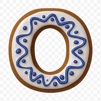 Lettera o dell'alfabeto fatta di biscotto di pan di zenzero di colore isolato