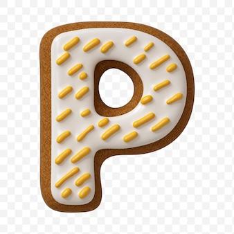 Lettera p dell'alfabeto fatta di biscotto di pan di zenzero di colore isolato