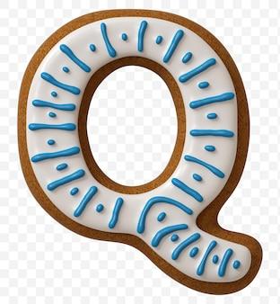Lettera q di alfabeto fatta di biscotto di pan di zenzero di colore isolato