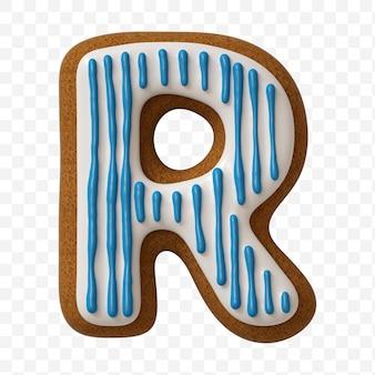 Lettera r dell'alfabeto fatta di biscotto di pan di zenzero di colore isolato